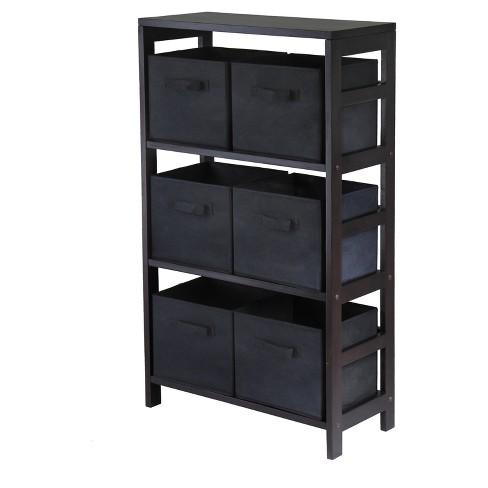 Capri 7 Piece Set Storage Shelf with Folding Fabric Baskets   - Espresso, Black - Winsome - image 1 of 1