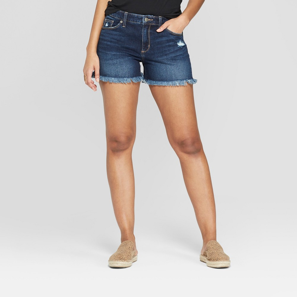 Women's High-Rise Frayed Hem Shortie Jean Shorts - Universal Thread Dark Wash 10, Blue