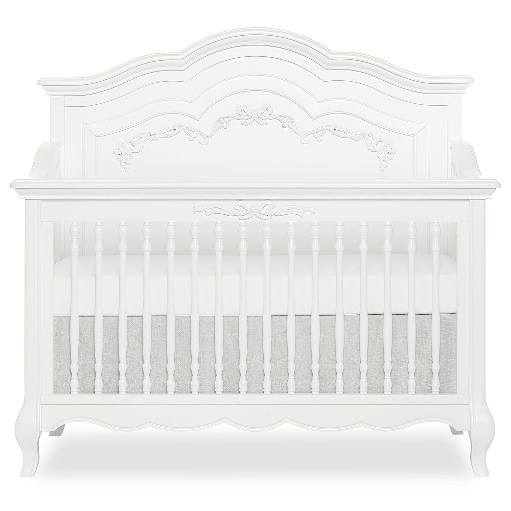 Image of Evolur Aurora 5-in-1 Convertible Crib - Winter Frost, White