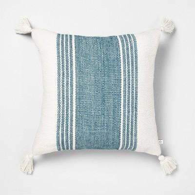 18x18 Wide Stripe Square Pillow Blue - Hearth & Hand™ with Magnolia