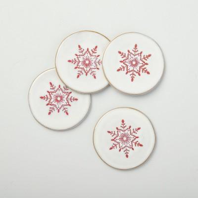 Festive Snowflake Stoneware Coaster Set Light Gray/Red - Hearth & Hand™ with Magnolia