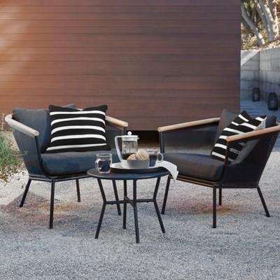bangor 3pc metal mesh faux wood patio chat set target rh target com