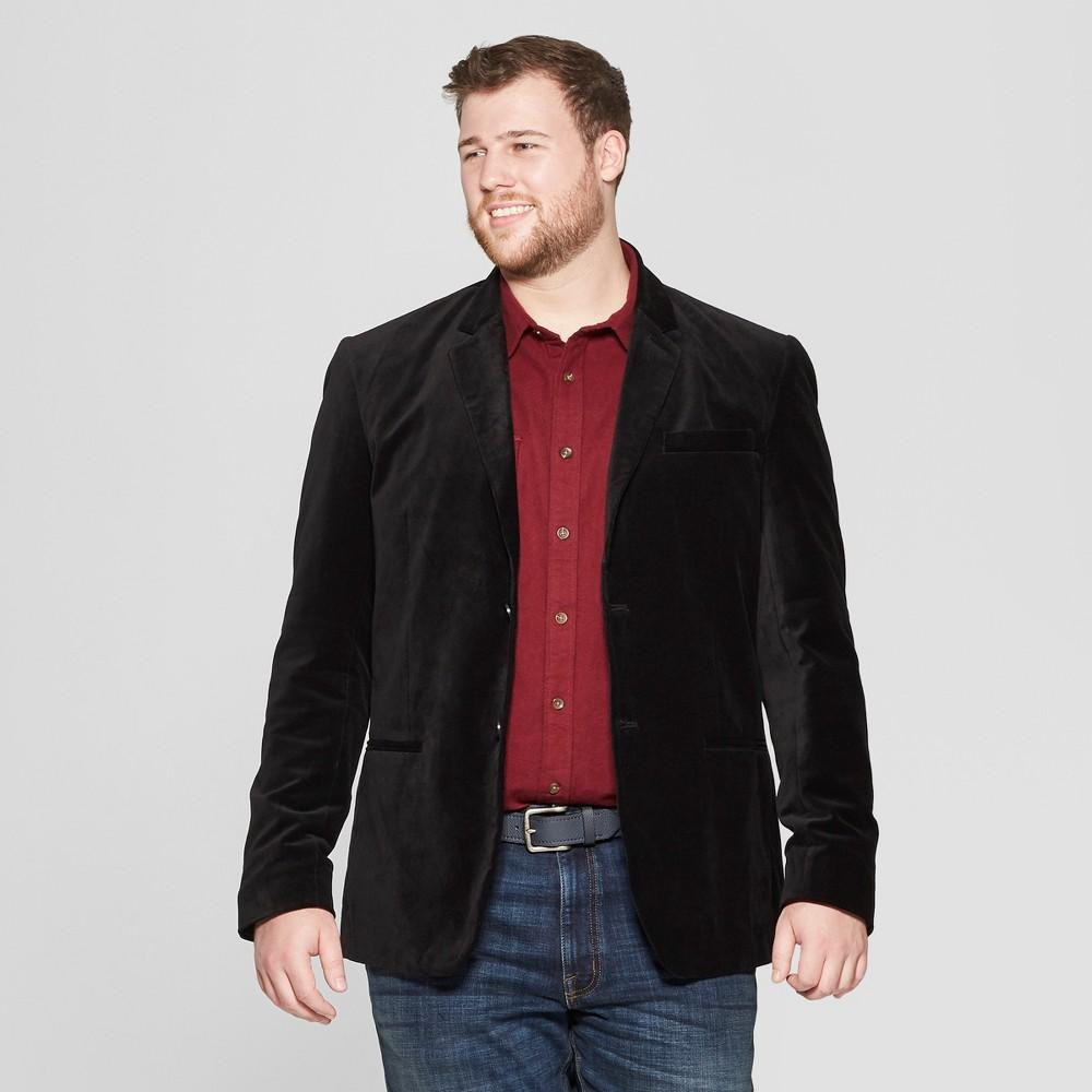 Men's Big & Tall Velvet Blazer - Goodfellow & Co Black 4XBT