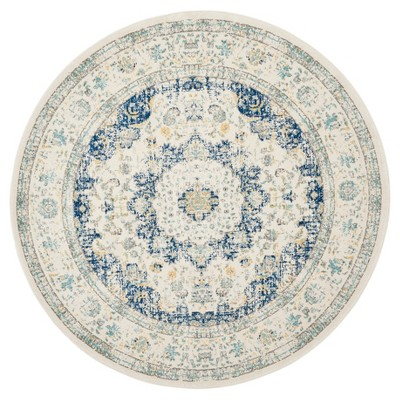 Ivory/Blue Abstract Loomed Round Area Rug - (5'1 )- Safavieh®