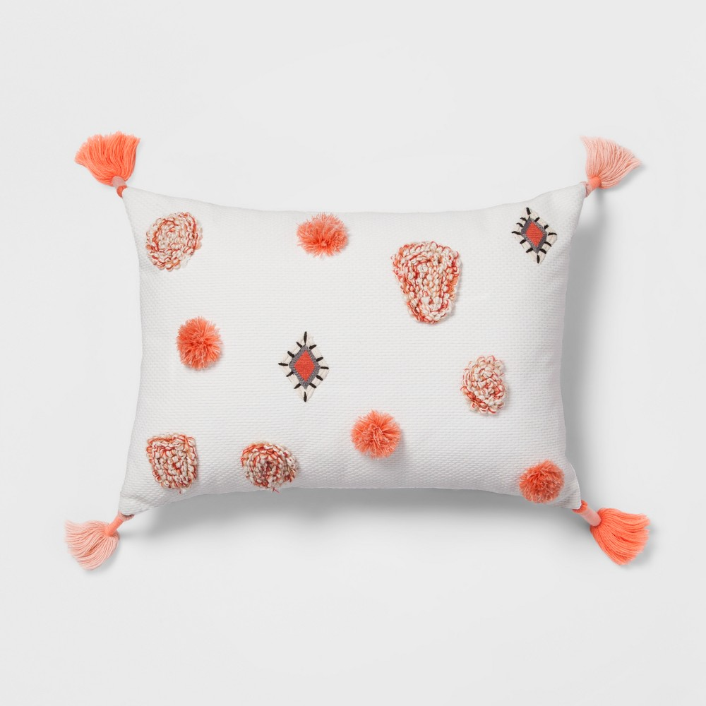 Coral (Pink) Tufted Tassel Lumbar Pillow - Opalhouse