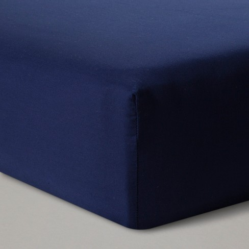 Fitted Crib Sheet Solid - Cloud Island™ - Navy - image 1 of 2