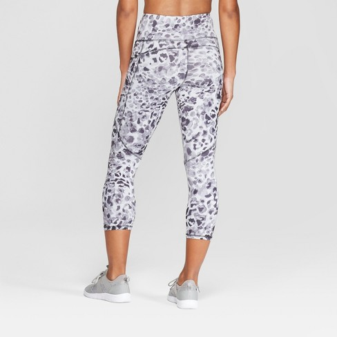 5d39588443a24 Women's Leopard Print Studio High-Waisted Capri Leggings - C9 Champion® Gray  M : Target