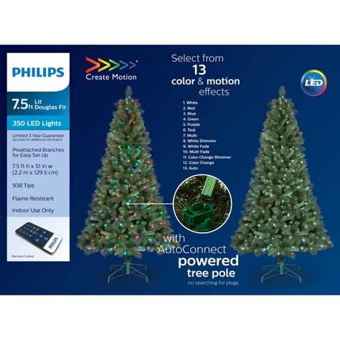 Philips 7 5ft Prelit Artificial Full Douglas Fir Christmas Tree Remote Controlled Multicolored Led Lights And Effects Target