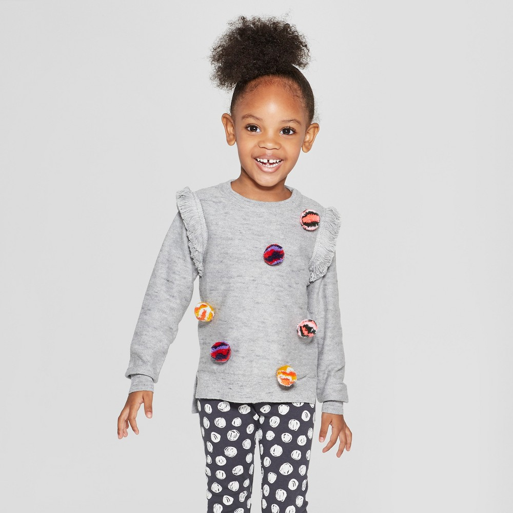 Toddler Girls' Pullover Sweater with Poms - Cat & Jack Heather Gray 2T