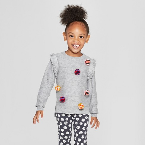 Toddler Girls' Pullover Sweater with Poms - Cat & Jack™ Heather Gray - image 1 of 3