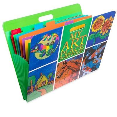 "My Art Place Expandable Color-Tabbed Portable Art Storage Portfolio with Decorative Frame, 19"" x 15¼"""