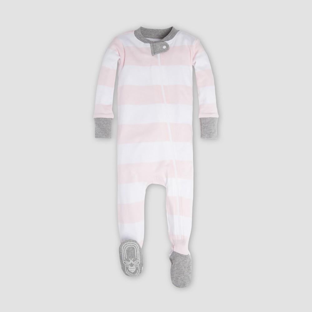 Burt's Bees Baby Organic Cotton Girls' Rugby Stripe Sleeper - Pink 12M, Red