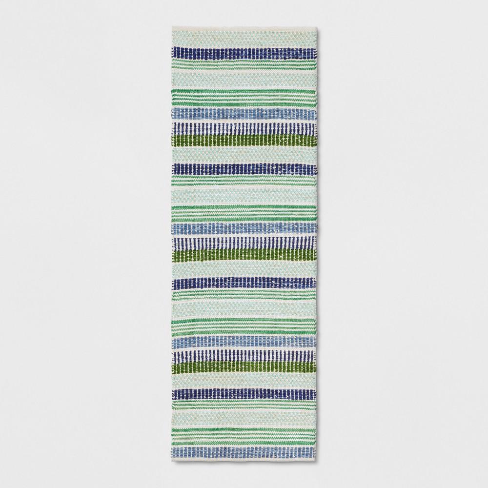 """Image of """"2'4""""""""X7' Runner Multi Stripe Woven Blue - Threshold"""""""