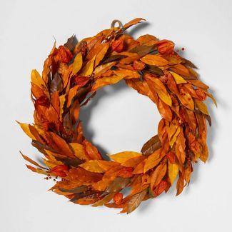 "21.2"" Dried Sweet Olive Leaves Wreath Orange/Yellow - Smith & Hawken™"