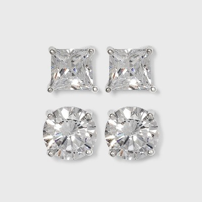 Sterling Silver Cubic Zirconia Duo Stud Earring Set 2pc - A New Day™ Clear