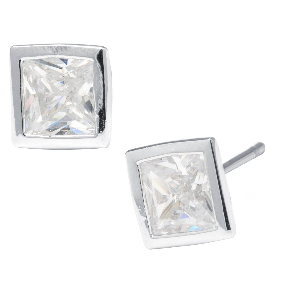 Silver Plated Brass Cubic Zirconia Bezel Set Stud Earrings (6mm), Girl's, Sterling