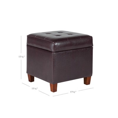 Charmant Square Tufted Faux Leather Storage Ottoman Brown   Homepop : Target