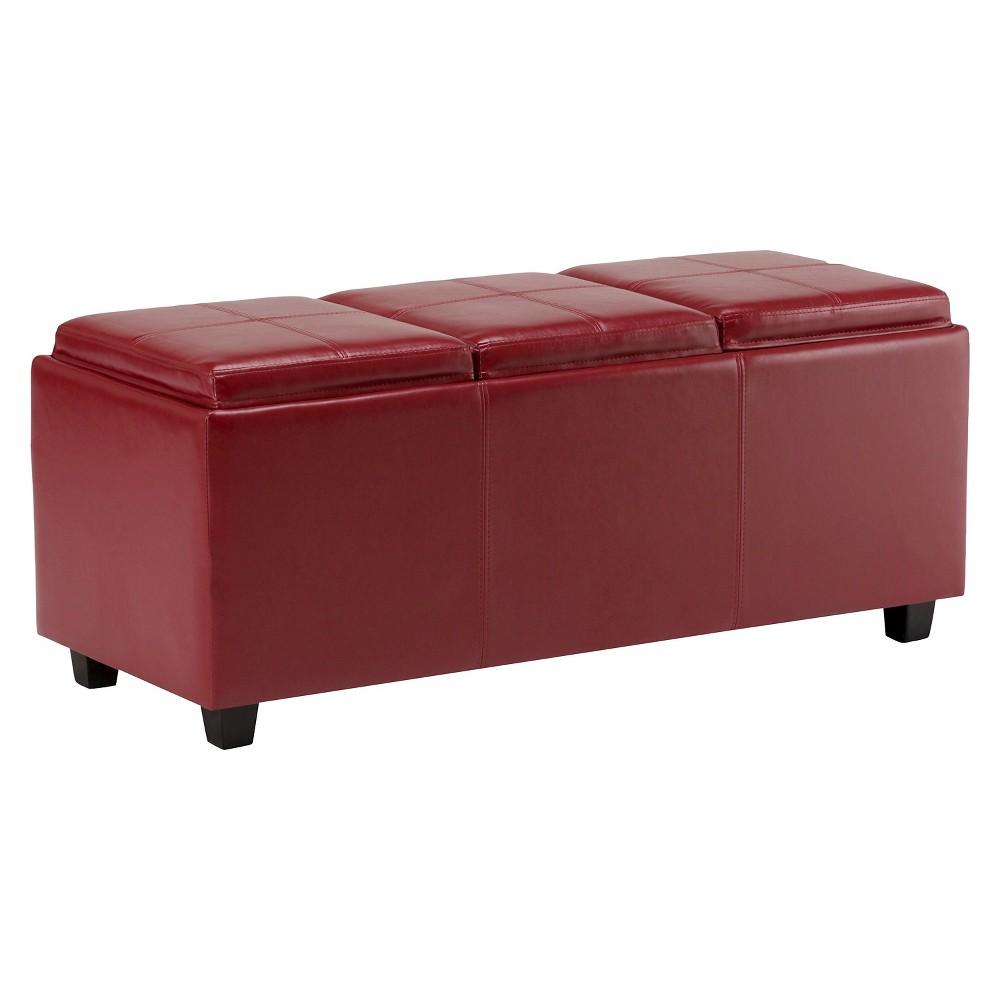FranklStorage Ottoman Red Faux Leather - Wyndenhall