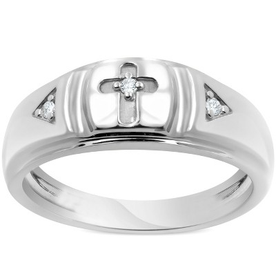 Pompeii3 Mens Diamond Cross Wedding Ring 10k White Gold