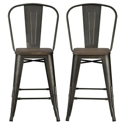 "Set of 2 24"" Lio Metal Counter Height Barstools with Wood Seat - Room & Joy"