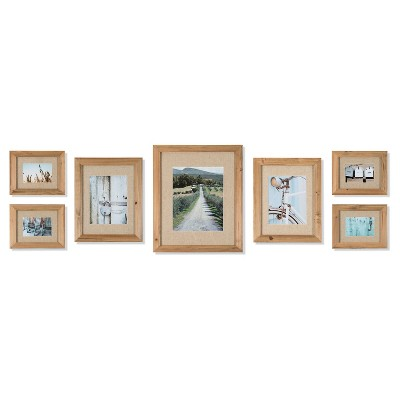 7pc Rustic Wood Frame with Fabric Mat Kit - Gallery Perfect