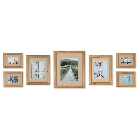 7 Piece Rustic Wood Frame With Fabric Mat Kit - Gallery Perfect : Target