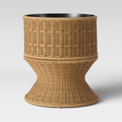 "16"" Wickerless Interior Base Weave Urn Planter Tan - Threshold™"