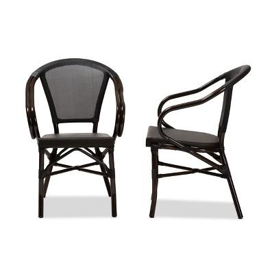 Set Of 2 Artus Indoor And Outdoor Stackable Bistro Dining Chairs   Baxton  Studio