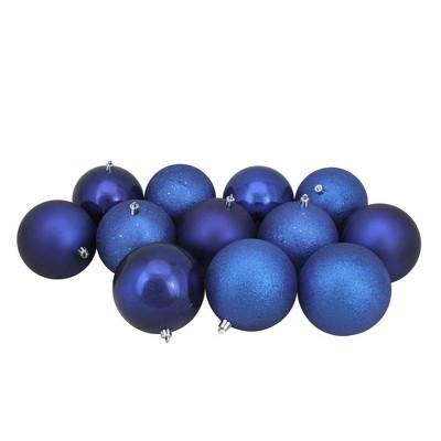 "Northlight 12ct Shatterproof 4-Finish Christmas Ball Ornament Set 4"" - Blue"