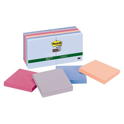 Post - it Notes Super Sticky Recycled Notes - 3 x 3 - Multi-Colored (90 Pads) - image 1 of 1