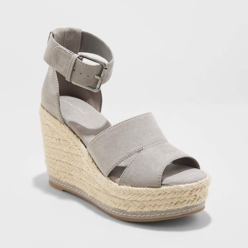 Women's Caroline Microsuede Ankle Strap Espadrille Wedge - Universal Thread Gray 8.5