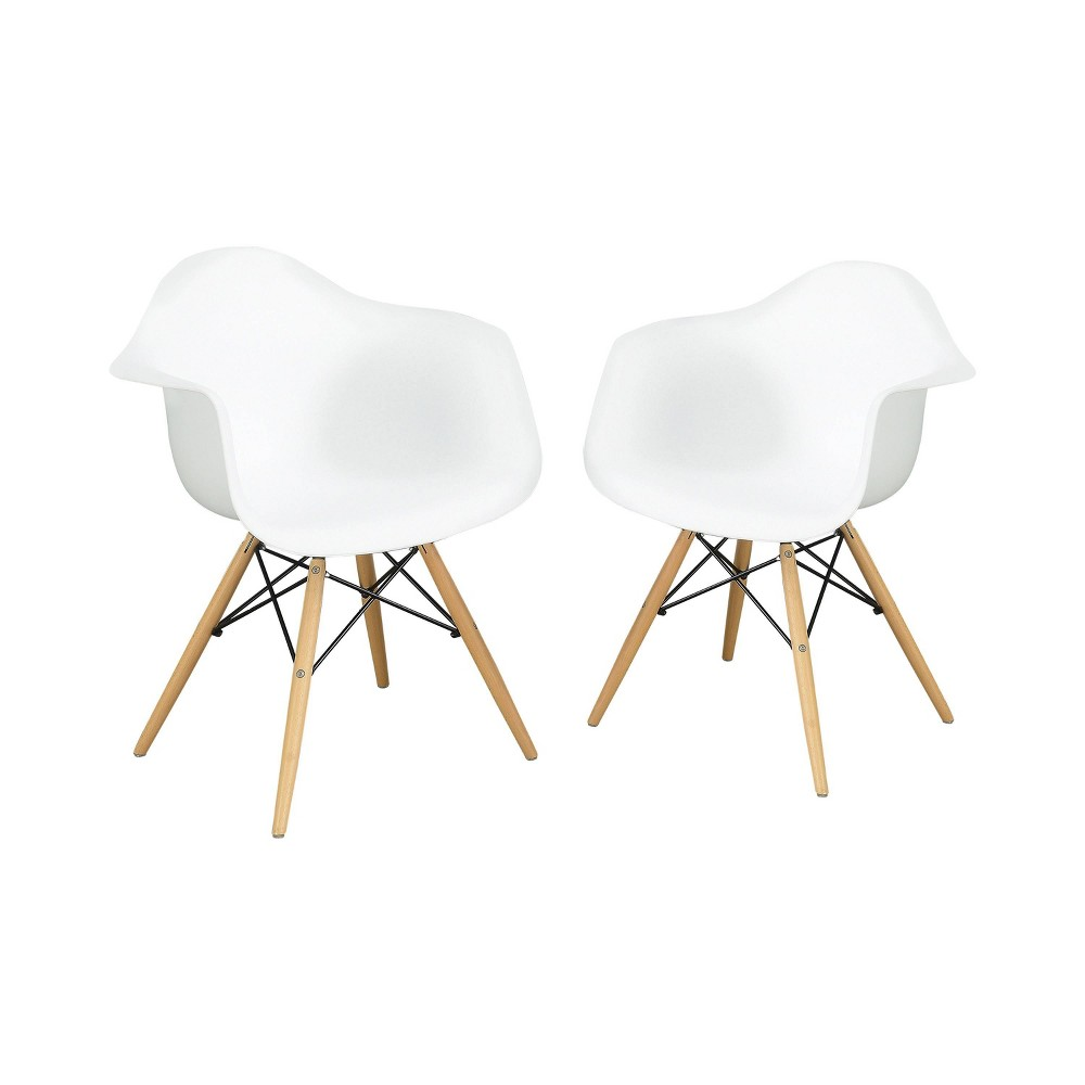 Set Of 2 Harlan Contemporary Accent Chairs White Homes Inside Out