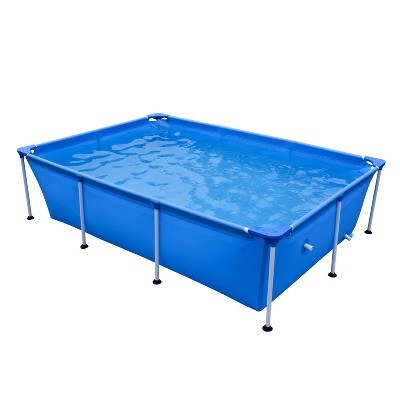 JLeisure Avenli 17818 Outdoor Backyard 8.5 x 6 x 2 Feet Above Ground Rectangular Steel Frame Pool with Repair Kit for Kids and Adults, Blue
