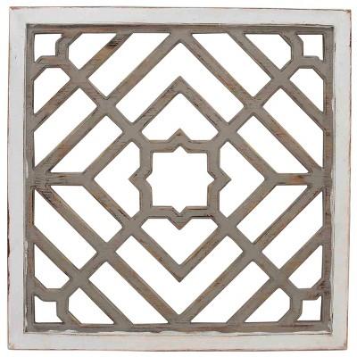 Weathered Square Pattern Wood Decorative Wall Art White/Brown - StyleCraft