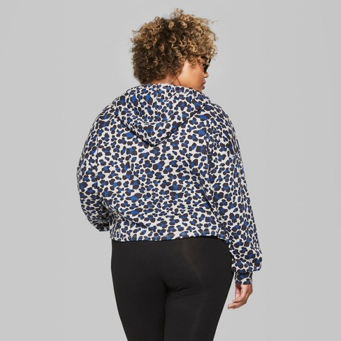 e31ae12161034 Women s Plus Size Hi-Lo Leopard Print Crop Sweathshirt Hoodie - Wild Fable™  Gray Blue 4X   Target