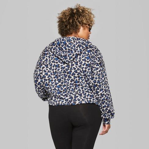 e31ae12161034 Women s Plus Size Hi-Lo Leopard Print Crop Sweathshirt Hoodie - Wild Fable™  Gray Blue 4X   Target