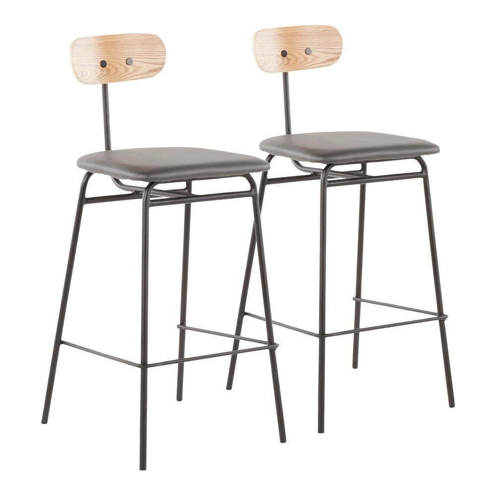 Set of 2 26 Elio Contemporary Counter Stools Black/Gray - LumiSource