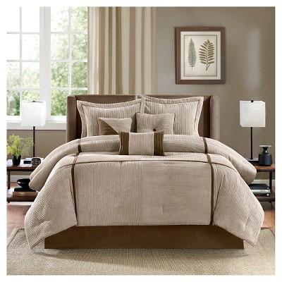 Caldwell 7 Piece Corduroy Comforter Set - Tan (Queen)