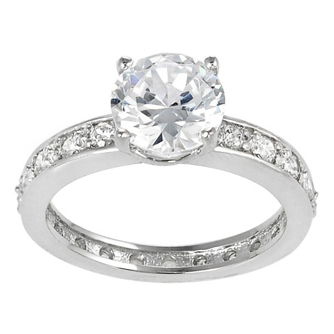 3 2/5 CT. T.W. Round-cut Cubic Zirconia Bridal Prong Set Ring in Sterling Silver - Silver - image 1 of 2