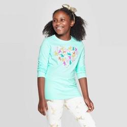 Girls' Long Sleeve Unicorn Heart Graphic T-Shirt - Cat & Jack™ Aqua