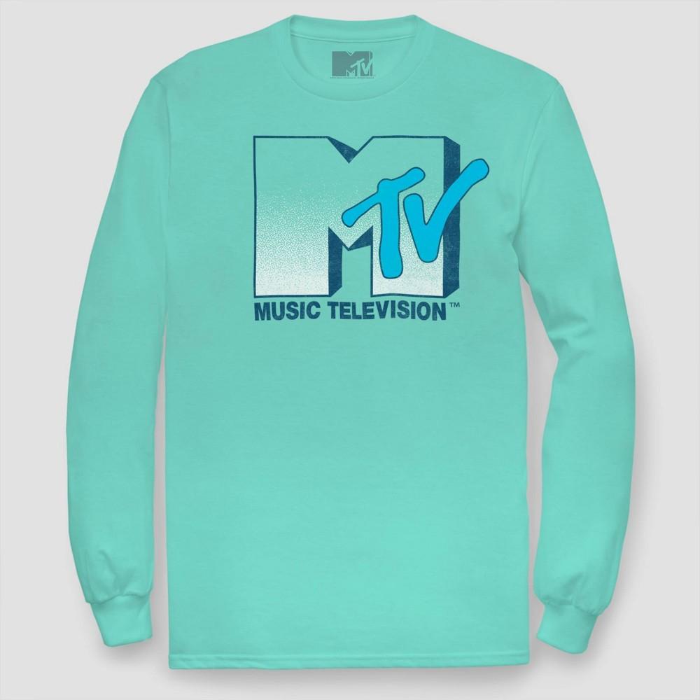 Men's Mtv Long Sleeve Graphic T-Shirt Aqua XL, Blue