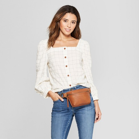3281a9ea383 Women s Long Sleeve Square Neck Button Front Shirt - Universal Thread™ Cream    Target