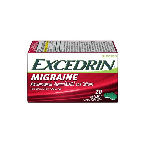 Excedrin Migraine Pain Reliever Geltabs - Acetaminophen/Aspirin (NSAID) - 20ct - image 1 of 4