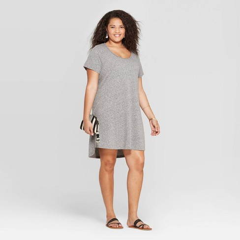 Women's Plus Size Short Sleeve Scoop Neck T-Shirt Dress - Universal Thread™ Gray - image 1 of 3