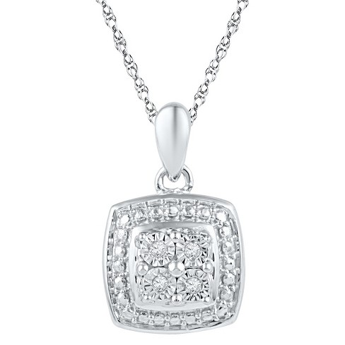 a3bf4d431 1/20 CT. T.W. Round Diamond Miracle Set Square Fashion Pendant in Sterling  Silver (IJ-I2-I3)