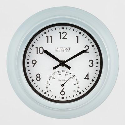 9  Indoor/Outdoor Clock With Temperature Blue - La Crosse Technology