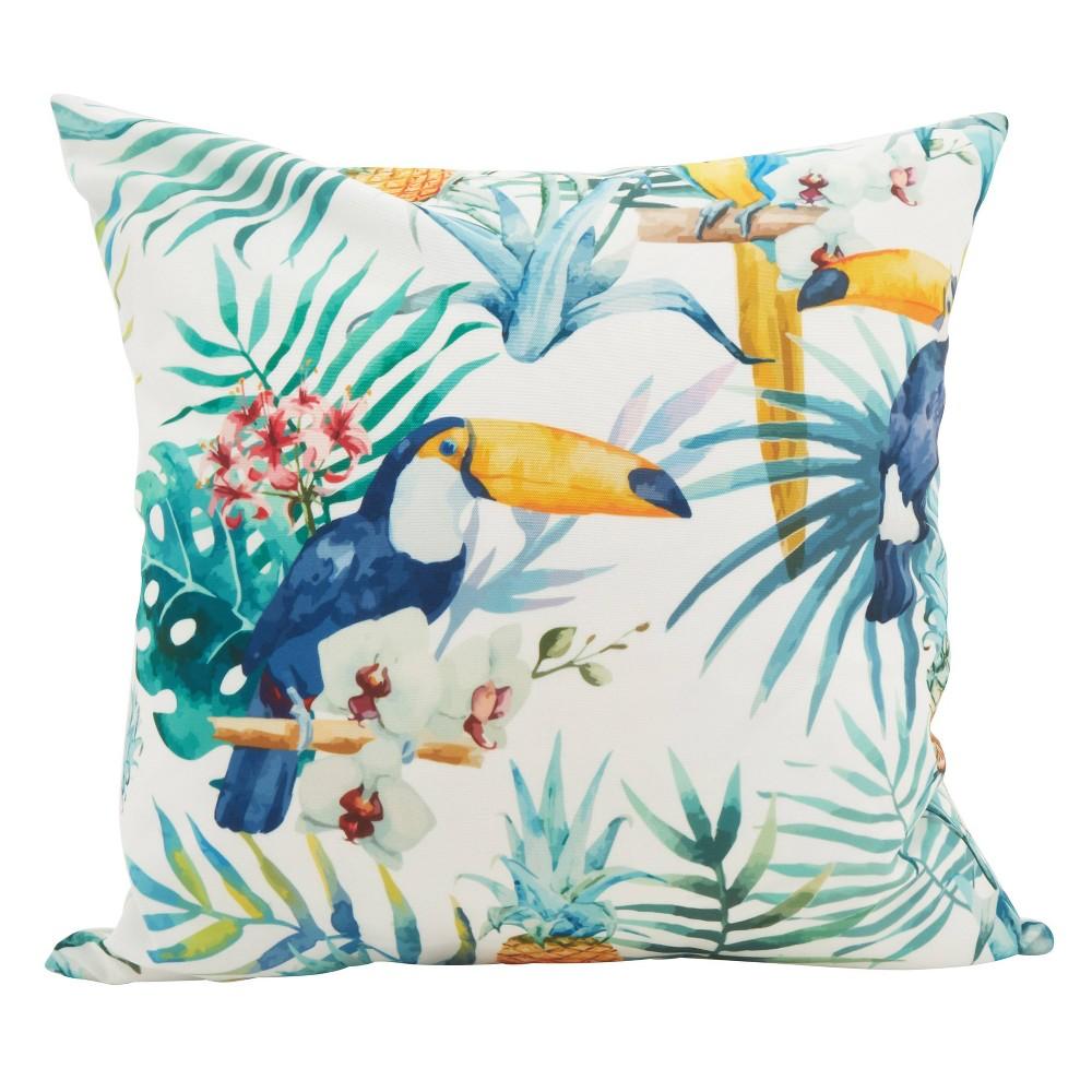 Saro Lifestyle 18 X18 Tropical Toucan Statement Poly Filled Throw Pillow Blue