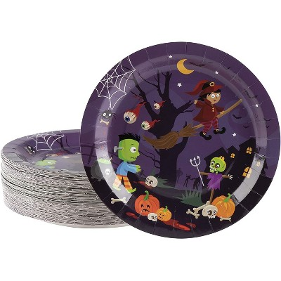 Blue Panda 80 Pack Witch & Monsters Disposable Paper Plates, Halloween Party Supplies, 9 in