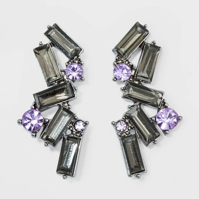 Glass Cluster Baguette And Stone Stud Earrings   A New Day™ Violet/Black by A New Day