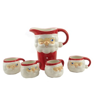 """Tabletop 8.75"""" Santa Pitcher And Cups Christmas Kitchen Drink One Hundred 80 Degree  -  Drinkware Sets"""